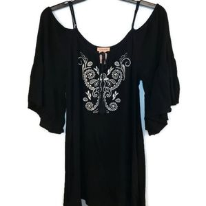 Embroidered Cold Shoulder Tunic Top